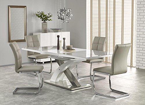 Sandor 2 160-220cm Grey Glass & White High Gloss Modern Extendable Dining Table