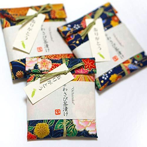 """京のお茶漬けプチギフト 和柄手ぬぐい包み """"Ochazuke"""" わさび茶漬け 3個セット"""