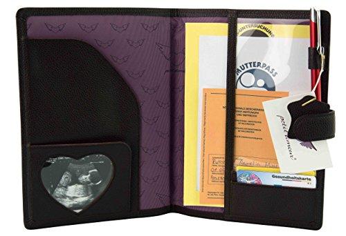 Petit Amour ♥ Portadocumenti per neomamme ♥ LEONA, 100% pelle con comparti per ecografia, carte e documenti.All in one, marrone.