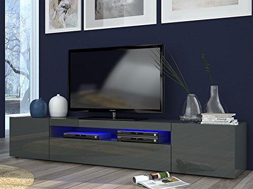 möbelando TV-Lowboard Longboard HiFi Rack Unterschrank Tisch Daiquiri II (Anthrazit-Hochglanz)