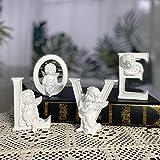 OwMell Set of 4 Angel Cherub Statue Figurine Heart Love Sculpture Home Decoration Collectible Figurine 4