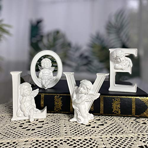 OwMell Set of 4 Angel Cherub Statue Figurine Heart Love Sculpture Home Decoration Collectible Figurine 4' White Paintable