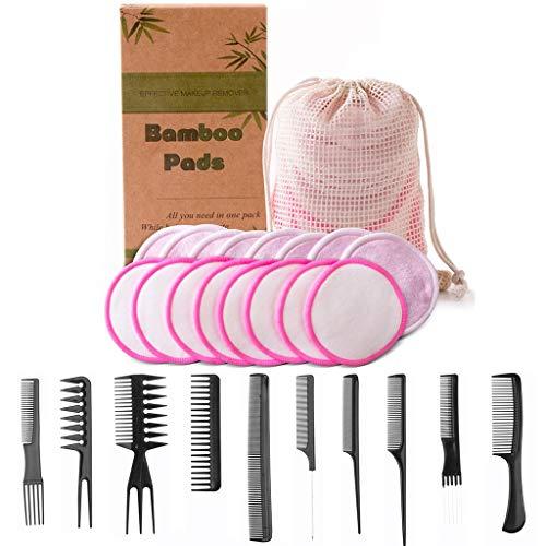 Amycute 27pcs Tampons Démaquillants Lavables en Fibre de Bambou avec Sac à Lessive,2 Couleurs Double Épaisseur Tampons Démaquillants en bio Bambou, Différents Types de Peignes, Boîte Biodégradable