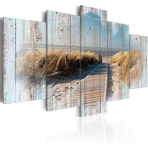 murando - Bilder 200x100 cm Vlies Leinwandbild 5 TLG Kunstdruck modern Wandbilder XXL Wanddekoration Design Wand Bild - Holz Strand Landschaft Natur Meer c-C-0029-b-n