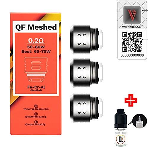 Preisvergleich Produktbild [100% ORIGINALPRODUKT] 3er Pack Verdampferköpfe VAPORESSO QF Meshed 0.2 ohm (50-80W) coils + 1 FREI eliquid Leere Flasche 5ml DansLesVapes [OHNE NIKOTIN,  OHNE Tabak] (vapo-QFmesh-02)