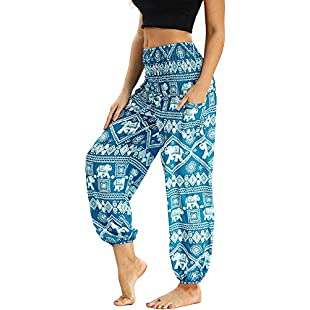 Nuofengkudu Women's Harem Trousers Thai Hippie Baggy Boho Vintage Patterned High Waist Smocked Waist Breathable Thin with Pockets Yoga Pants Beach Light Blue Elephant B