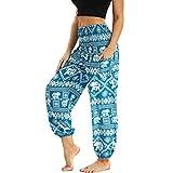 Nuofengkudu Mujer Pantalones Hippies Tailandeses Estampado Verano Cintura Alta Elastica con Bolsillos para Yoga Pants Casual Azul Claro Elefante B