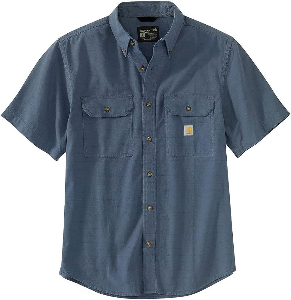 Carhartt Men's 104625 Loose Fit Midweight Chambray Short Sleeve Plaid Shirt
