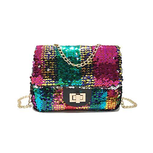 LLine Dames Handtassen Pailletten Kleine vierkante tas Mode Schoudertas Casual Messenger Bag Dames Buideltassen, Multi