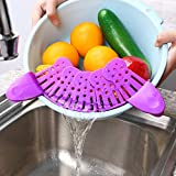 Foldable Kitchen Food Strainer for Spaghetti, Pasta, Ground Beef Grease, Colander & Sieve Snaps on Bowls, Pots and Pans, Clip On Silicone Colander, Heat Resistant, Easy to Use and Store, Purple