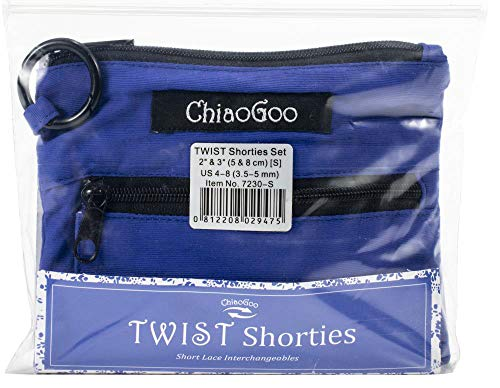 ChiaoGoo Twist Shorties (US-4 Thru US-8) Juego de tejer intercambiable (S) puntas de unión