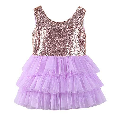 YUAN YUAN Kinder Kinder Mädchen ärmellose Pailletten Bowknot Hochzeit Party Princess Dress Kleid festlich Party Kleid Festzug Hochzeit