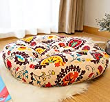 SHAREMILY Cotton Linen Floor Cushion Round Solid Meditation Yoga Floor Pillow Boho Tufted Tatami Floor Pad for Living Room Balcony Bay Window Bedroom Garden Party, 23 Inch, Sun Flower