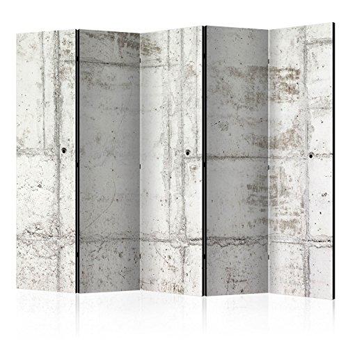 murando Biombo Concreto Hormigon 225x172 cm de Impresion Bilateral en el Lienzo de TNT de Calidad Decoracion Foto Biombo de Madera con Imagen Impresa Separador Grande Home Office Gris f-A-0458-z-c