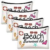 4 Pieces Beach Survival Kit Cosmetic Bag Funny Beach Makeup Bag Beach Accessories Travel Organizer Bag Pouch Case for Women Kids Present