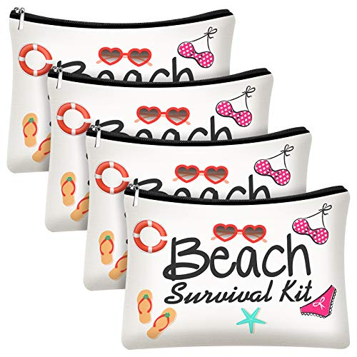4 Pieces Beach Survival Kit Cosmetic Bag Funny Beach Makeup Bag Beach Accessories Travel Organizer Bag Pouch Case for Women Kids Present