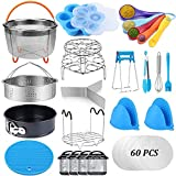 Pressure Cooker Accessories Set Compatible with Instant Pot Accessories 6 qt 8 Quart, 2 Steamer Basket, Springform Pan, Stackable Egg Steamer Rack, Egg Bites Mold, Steamer Rack Trivet, Parchment Paper