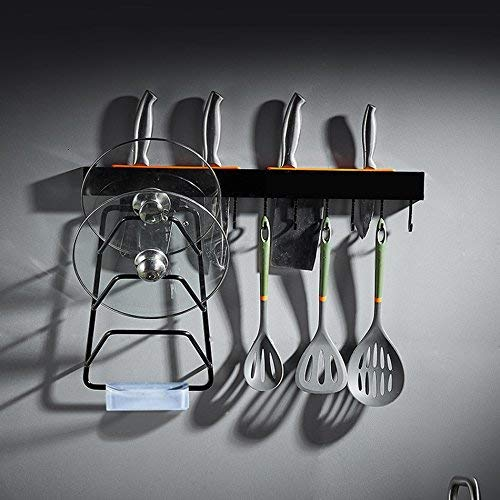 ZXL Opbergrek Wandrek Modern American Style ruimtebesparend netjes potdeksel rek kruidenrek keukenrek Black Space aluminium multifunctionele grootte: 60 cm levenssexpert keukengeschenk