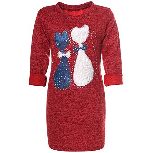 BEZLIT Mädchen Pullover-Kleid Tunika Katzen Motive Glitzer 21582 Rot Größe 116