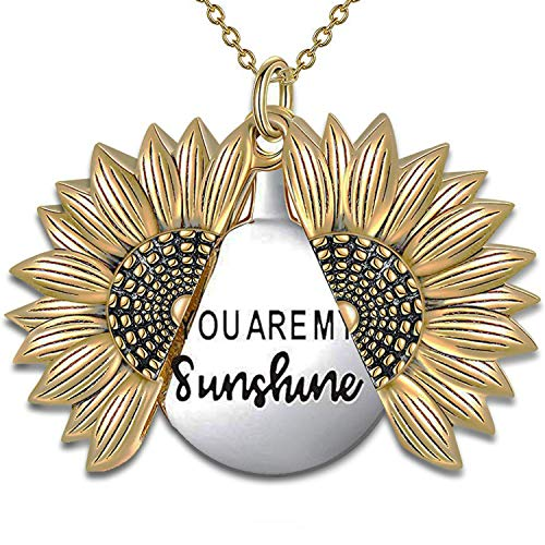 MyLittleSunflower - You are My Sunshine Necklace - Sunflower Necklace Locket with Engraved Hidden Message Pendant for Women, Mother, Daughter