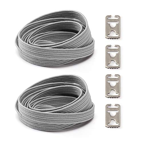 Elastic No Tie Shoelaces for Kids and Adults Sport Running Lazy Shoelace for Sneakers Stainless Steel Buckle System For Laces (Grey)