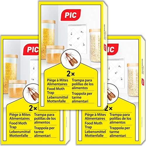 PIC Trappola Anti Tarme del Cibo - Confezione da 3 buste con due trappole = 6 pezzi – Trappola di colla per farfalline del cibo, trappole ai feromoni acchiappa tarme alimentari