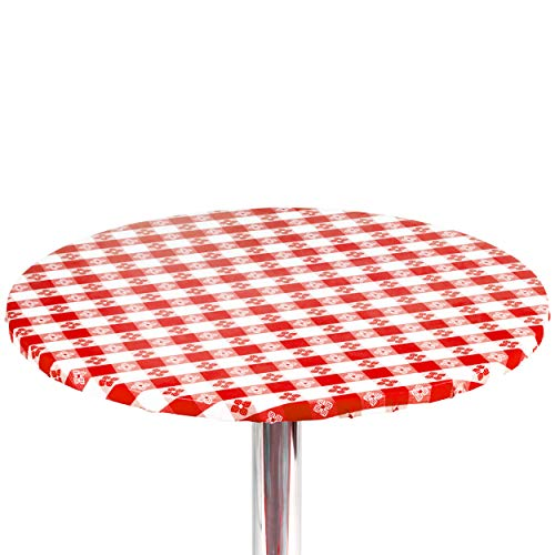 """Yourtablecloth Checkered Vinyl Round Fitted Tablecloth with Flannel Backing Elasticized Tablecloth Great for Restaurants, Picnics, Bistros, Indoor and Outdoor Dining, Playing Cards 36"""" Red and White"""