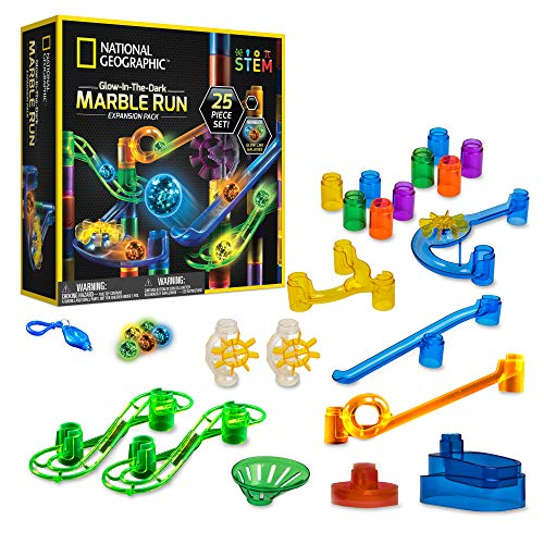 NATIONAL GEOGRAPHIC Glowing Marble Run – Expansion Pack with 5 Glow in The Dark Glass Marbles, 20 Construction Pieces, UV Light Key Chain, Great Creative STEM Toy for Girls and Boys