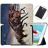 MAITTAO Galaxy Tab E 9.6 Case 2015 SM-T560/T561/T565/T567V, Slim Stand Folio Cover For Samsung Tab E Wi-Fi/Tab E Nook/Tab E Verizon 9.6-Inch Tablet Sleeve Bag 2 in 1 Bundle, Akhal-Teke Horse 7