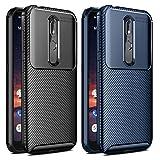 VGUARD [2 Stücke] Hülle für Nokia 3.2, Stylisch Karbon Design Schutzhülle Cover Robuste Soft Flex TPU Silikon Handyhülle Hülle für Nokia 3.2 (Schwarz+Blau)