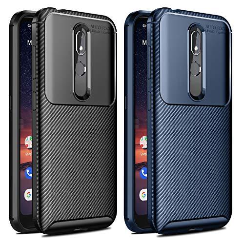 VGUARD [2 Stücke] Hülle für Nokia 3.2, Stylisch Karbon Design Schutzhülle Cover Robuste Soft Flex TPU Silikon Handyhülle Case für Nokia 3.2 (Schwarz+Blau)