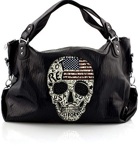 Damen Handtasche Totenkopf Skull Bone Gothic Punk Damentasche Schultertasche Stars and Stripes American Style
