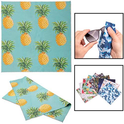 Lens-Aid Mikrofaser Reinigungstuch in schickem Design: Für Kamera, Objektiv, Display und als Brillen-Putztuch (Mikrofasertuch 20x20 cm) Ananas