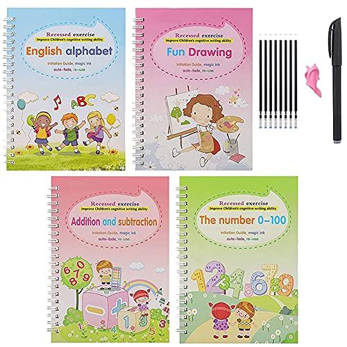 Magic Practice Copybook Paquete De 4 Con BolíGrafo, Libro De PráCtica De Escritura Reutilizable, Para NiñOs Que Aprenden Alfabeto, NúMeros, MatemáTicas, Dibujo