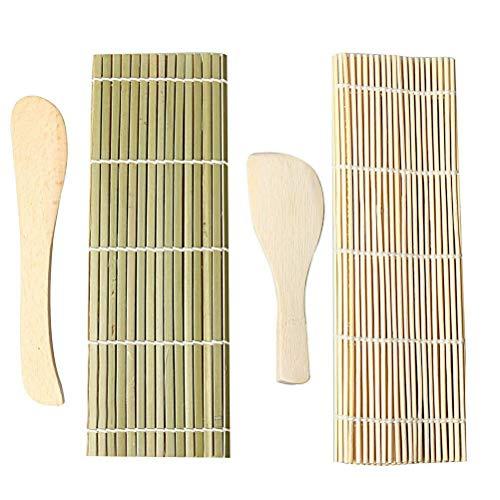 Haokey Sushi Maker Set, Sushi Selbst Machen Set Sushi Roll-Kit für Anfänger 1 Reisstreuer 1 Reislöffel 1 Bambus Sushi Matte