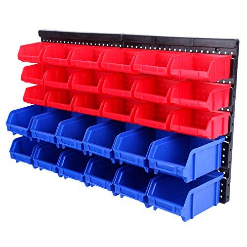 Paneltech 32 pièces Boîtes de rangement empilable multifonctionnel Plastique bacs kit support mural Etagère Rangement Garage Atelier et Garage et maison de stockage Poubelle de rack de stockage