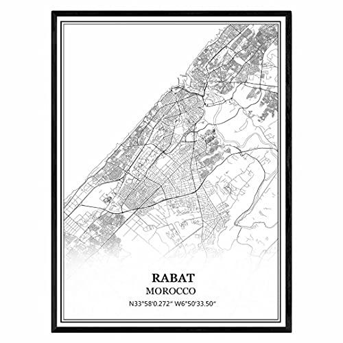 Rabat Marruecos Mapa de pared arte lienzo impresión cartel obra de arte sin marco moderno mapa en blanco y negro recuerdo regalo decoración del hogar