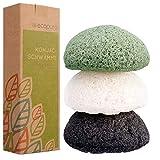 ecopura Konjac Schwamm Set (3 Stück) - Gesichtsschwamm, Gesichtsreiniger für unreine, fettige, empfindliche, trockene, normale Haut und Mischhaut - Peeling - Zero Waste, Eco Friendly, Plastikfrei