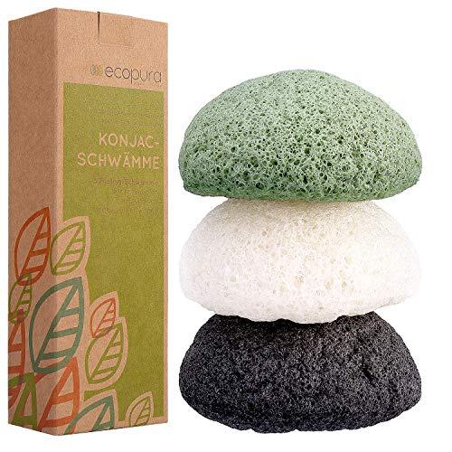 ecopura® Konjac Schwamm Set (3 Stück) - Gesichtsschwamm, Gesichtsreiniger für unreine, fettige, empfindliche, trockene, normale Haut und Mischhaut - Peeling - Zero Waste, Eco Friendly, Plastikfrei