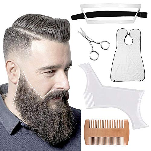 fani 5 Pcs Beard Shaping Tool Set, Comb & Scissors Beard Apron Transparent Beard Shaper Template Styling Comb Safety Beard Care Tool for Men Works with any Electric Trimmers or Clippers