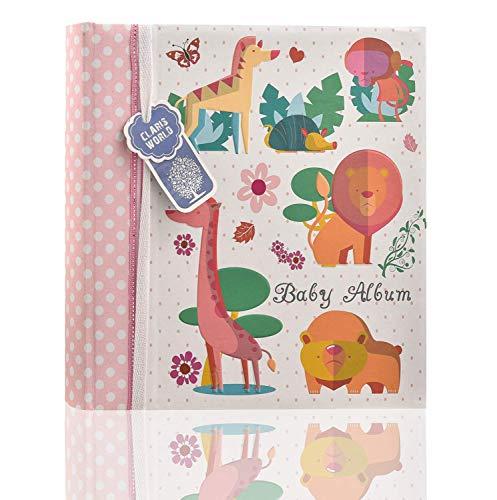 Álbum de fotos de 10 x 15 cm para 200 fotos, diseño de animales del bosque, color rosa