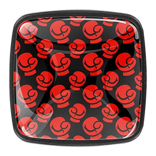 4er Pack Küchenschrank Knöpfe, Knöpfe für Kommodenschubladen Schwarze rote Boxhandschuhe stanzen Zieht an den Türgriffen