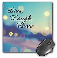 3drose LLC 8x 8x 0.25インチ、マウスパッド、ライブ、笑い、愛式、ブルー、パープル、ピンク、ゴールドライト(MP 164014_ 1)