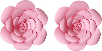 LG-Free 2pcs 12inch Paper Flower Backdrop Decoration Party Paper Flower Wedding Rose Flower Wall Backdrop DIY Paper Handmade Craft for Nursey,Baby Shower,Birthday,Home Decor (12inch, Pink)
