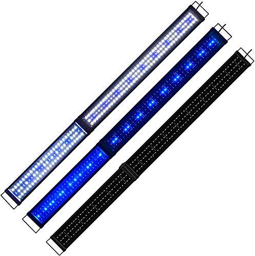 KZKR - Rampa LED para acuario, 150 cm, color blanco y azul, luz nocturna suave, 150 - 180 cm, extensible, enchufe europeo, lámpara...