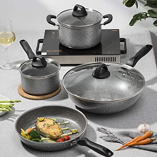 LGR Juego de Utensilios de Cocina, Juego de 4 Piezas Que Incluye sartén, woks, Olla para Sopa y Olla para Leche, Antiadherente de Primera Calidad