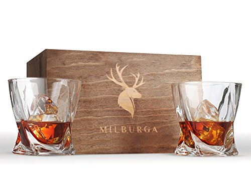 Premium Quality Whiskey Glasses Set of 2 in Hand Crafted Wooden Box – Lead-Free Crystal Old Fashioned Tasting Tumblers For Scotch, Whisky, Liquor, Bourbon 10 oz. Luxury Gift Set For Men or Women