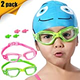 Kids Swim Goggles, 2 Pack Crystal Clear Swimming Goggles for Children...