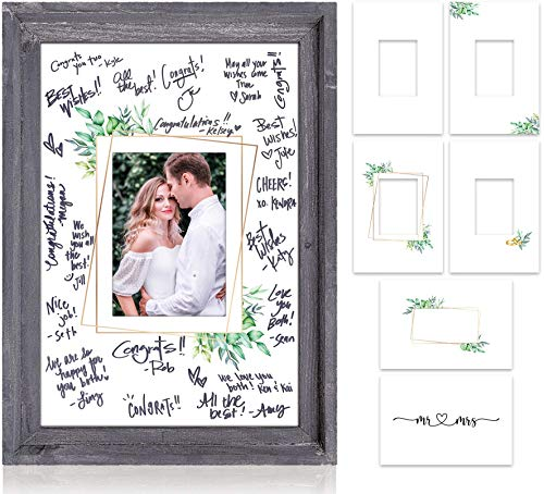 Rustic Wedding Guest Book Alternative - 17x12  Wood Picture Frame Incl. 6 Signable Backgrounds To Display Your Photos And Cherished Wedding Day Memories - Beautiful Wedding Reception Decor