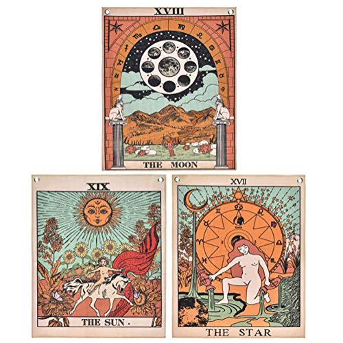 Kaisilan Pack 3 Tarot Tapestry, The Moon, The Star and The Sun Tarot Card Tapetsry, Medieval Europe Tapestry for Room (15.7' x 19.7')